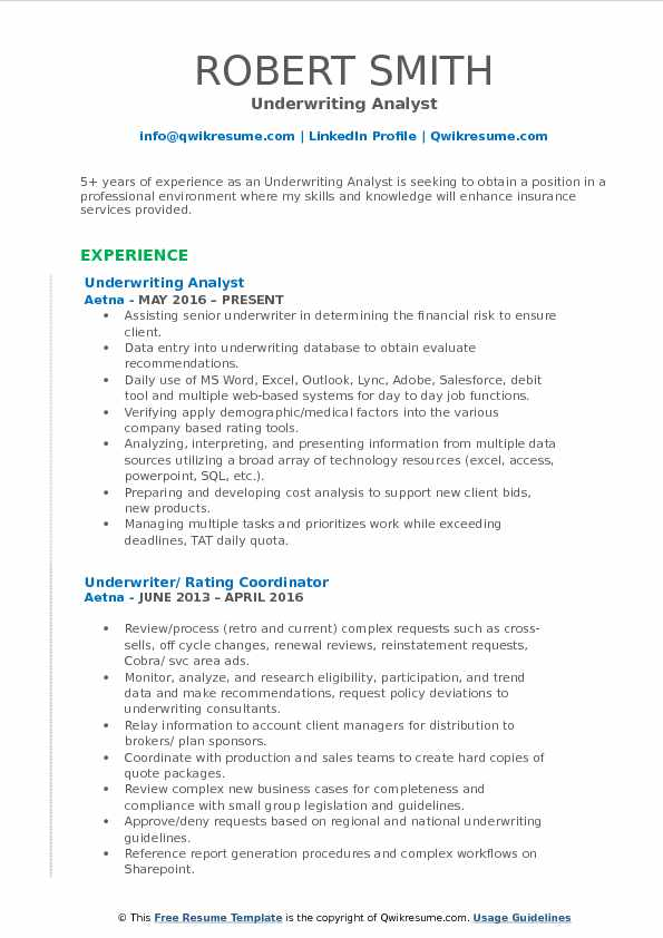 Underwriting Analyst Resume Sample
