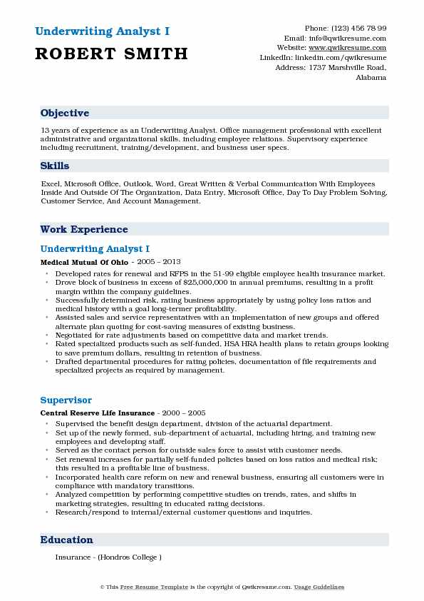 Underwriting Analyst I Resume Format