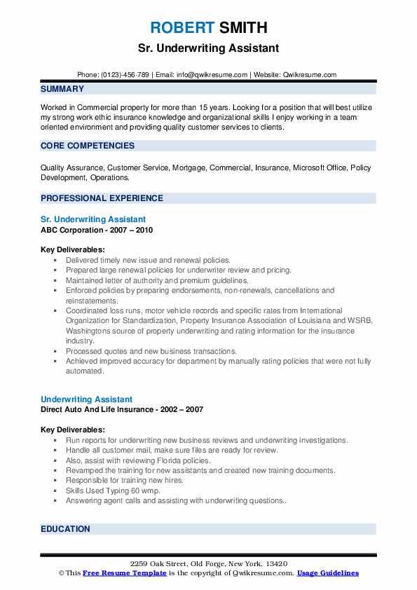 Sr. Underwriting Assistant Resume Format