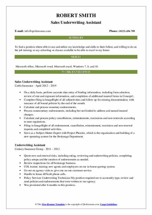 Underwriting Assistant Resume Samples Qwikresume
