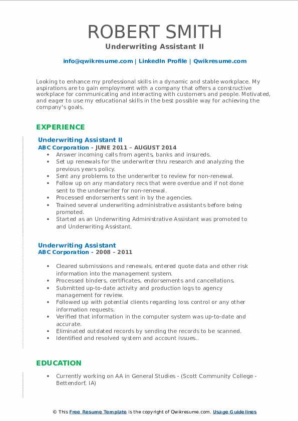 Underwriting Assistant II Resume Template
