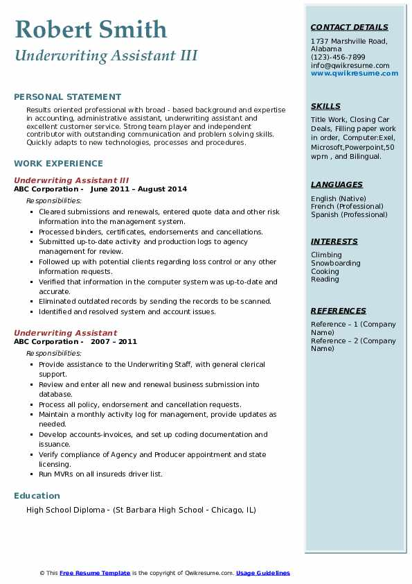 Underwriting Assistant Resume Samples | QwikResume