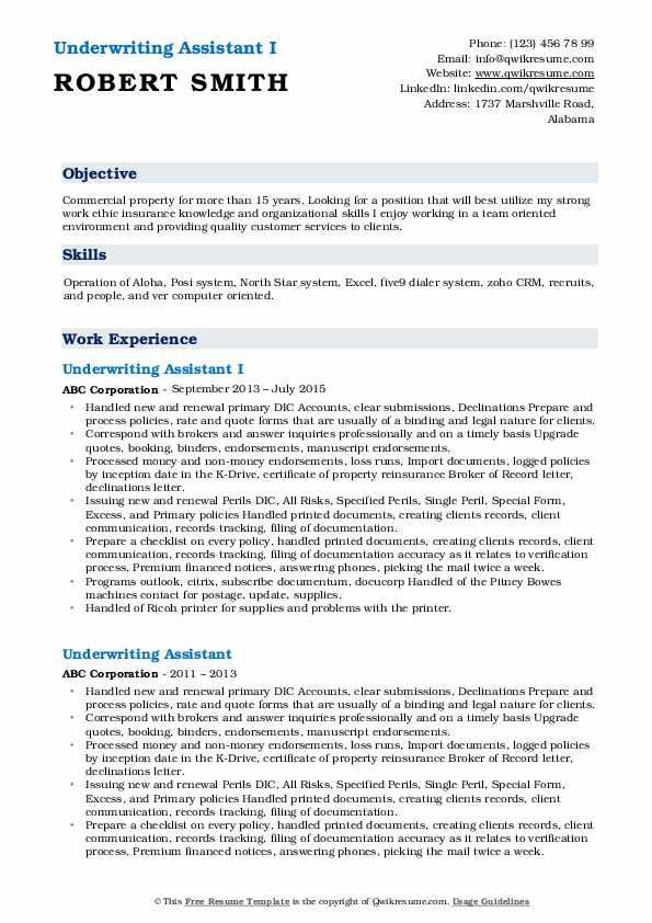 Underwriting Assistant I Resume Model