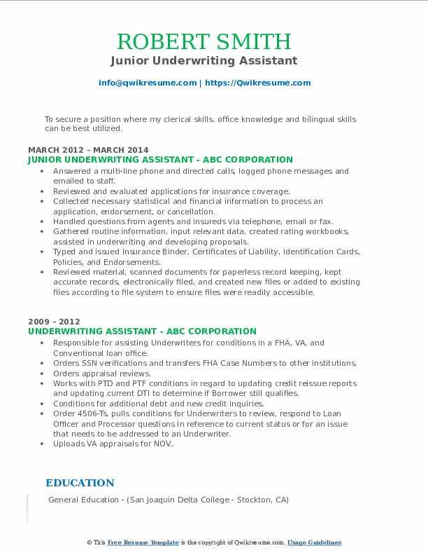 Junior Underwriting Assistant Resume Sample
