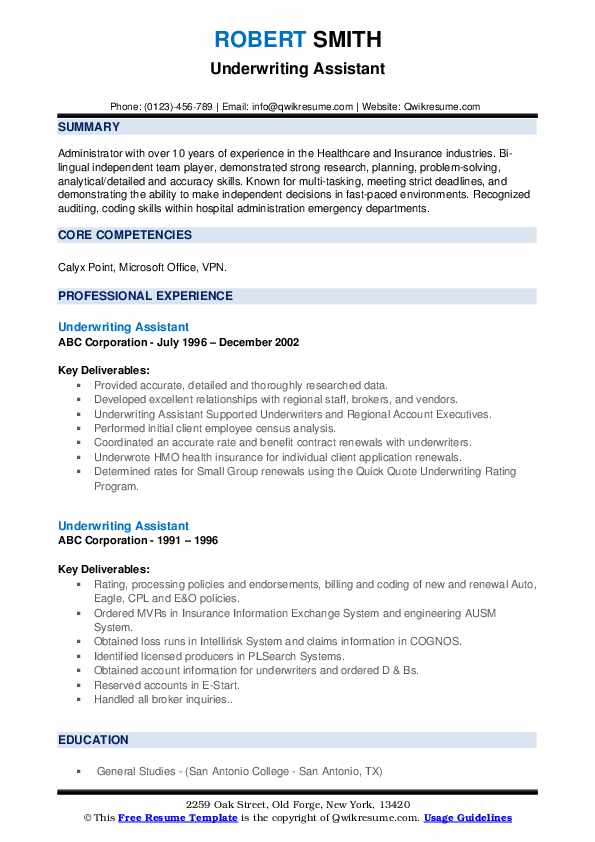 Underwriting Assistant Resume example