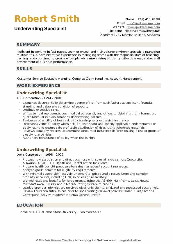 Underwriting Specialist Resume example