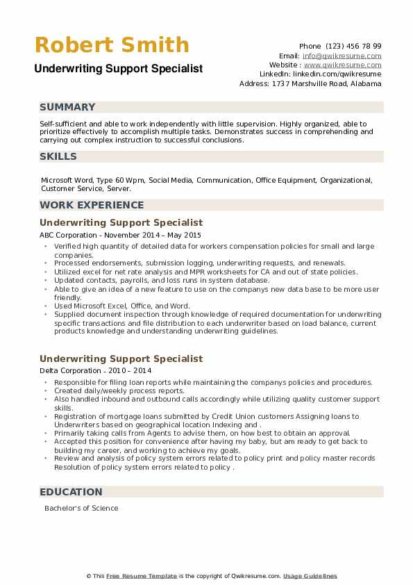 Underwriting Support Specialist Resume example