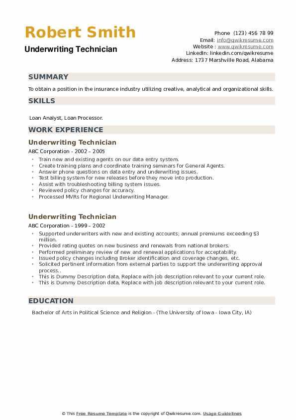 Underwriting Technician Resume example