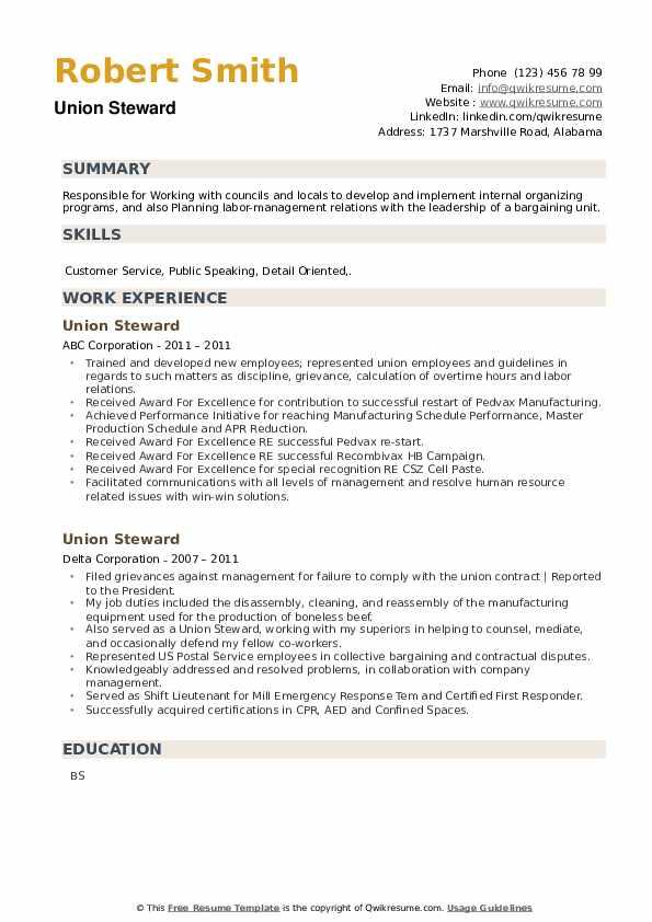 Union Steward Resume example
