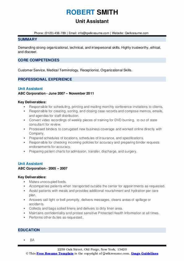 Unit Assistant Resume example