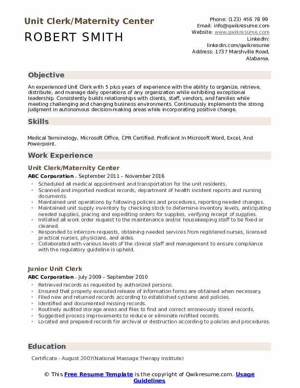 Unit Clerk/Maternity Center Resume Format