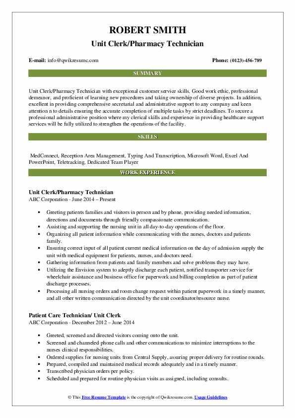 Unit Clerk/Pharmacy Technician Resume Sample