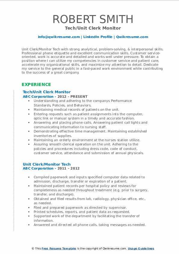 Tech/Unit Clerk Monitor Resume Format