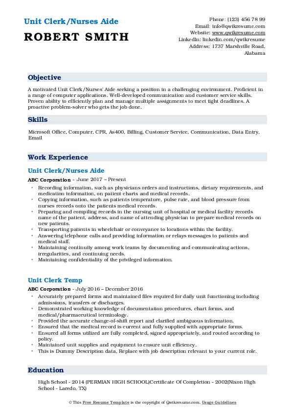 Unit Clerk/Nurses Aide Resume Model