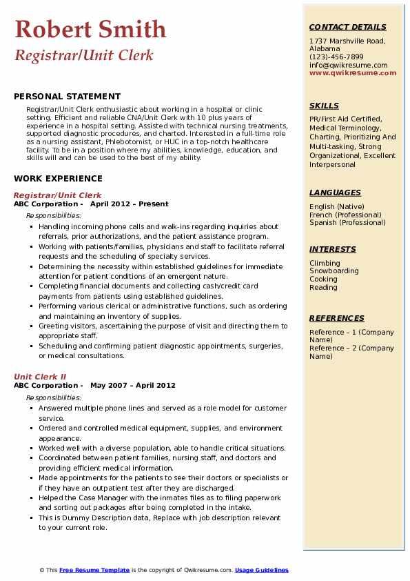 Registrar/Unit Clerk Resume Format