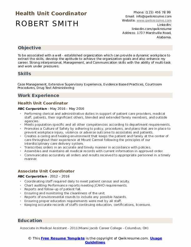 Health Unit Coordinator Resume Example