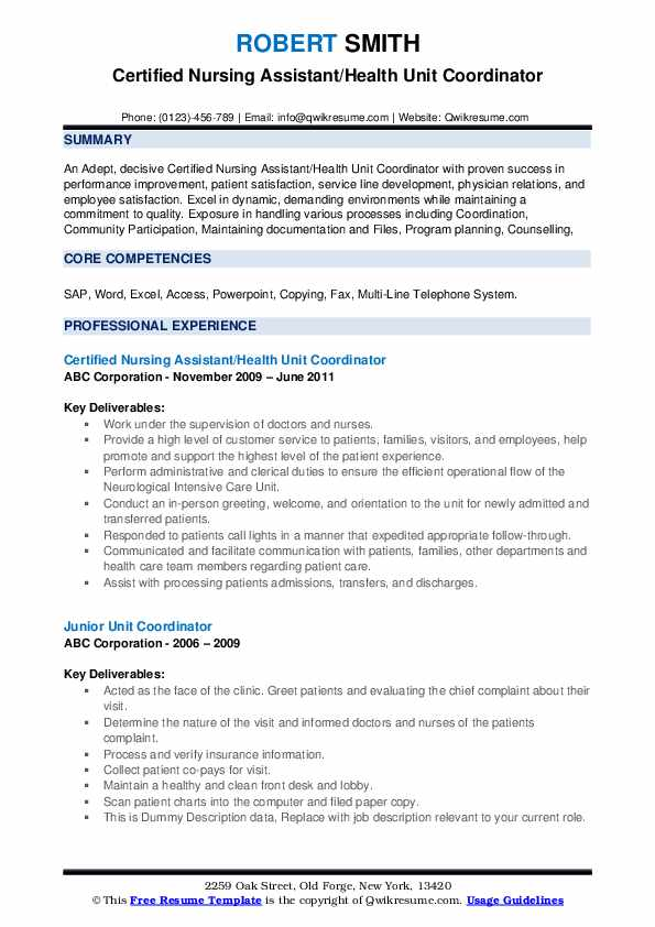Certified Nursing Assistant/Health Unit Coordinator Resume Sample