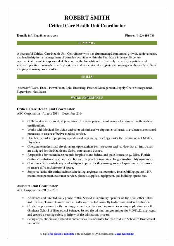 Critical Care Health Unit Coordinator Resume Example