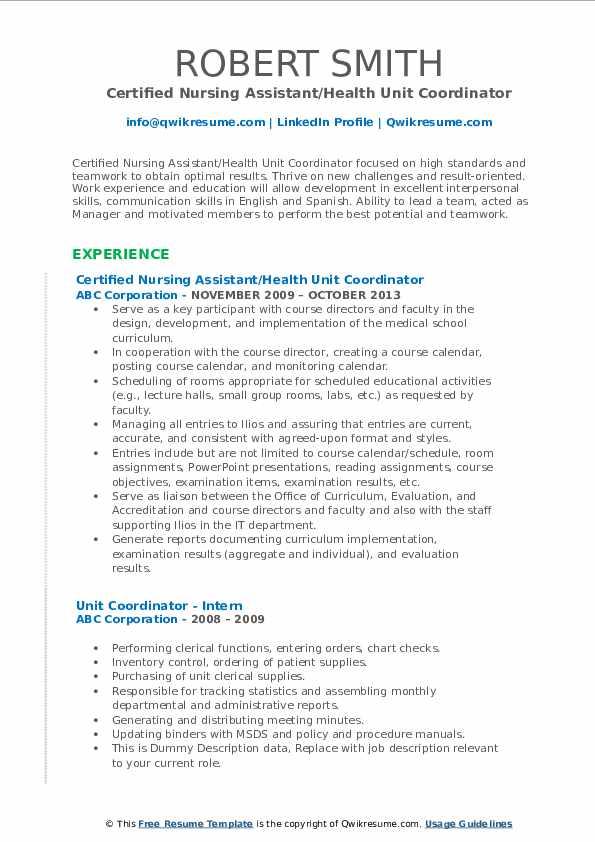 Certified Nursing Assistant/Health Unit Coordinator Resume Format