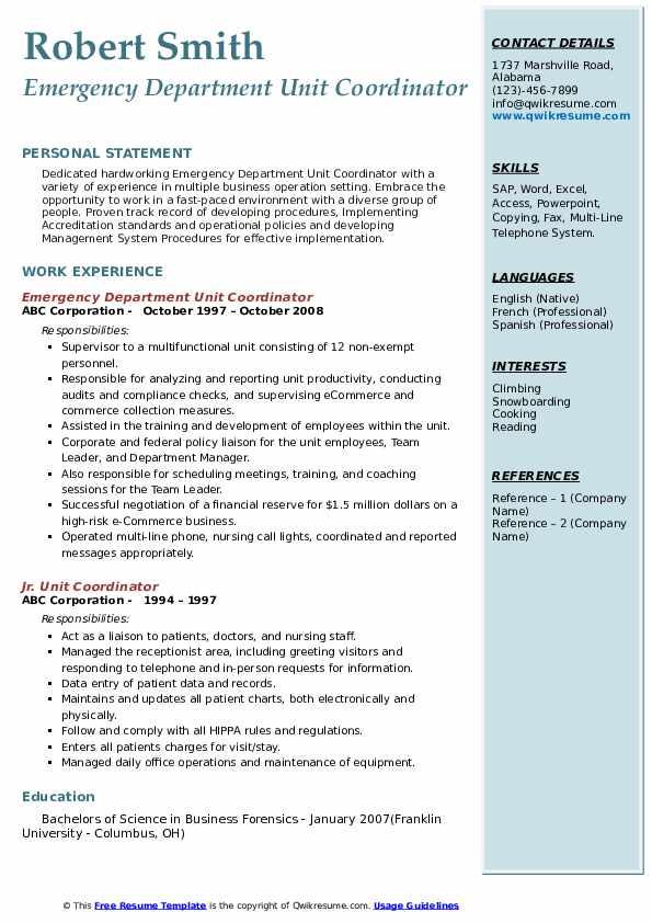 Emergency Department Unit Coordinator Resume Template
