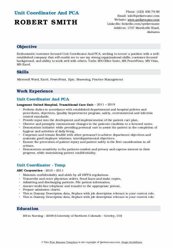 Unit Coordinator And PCA Resume Format
