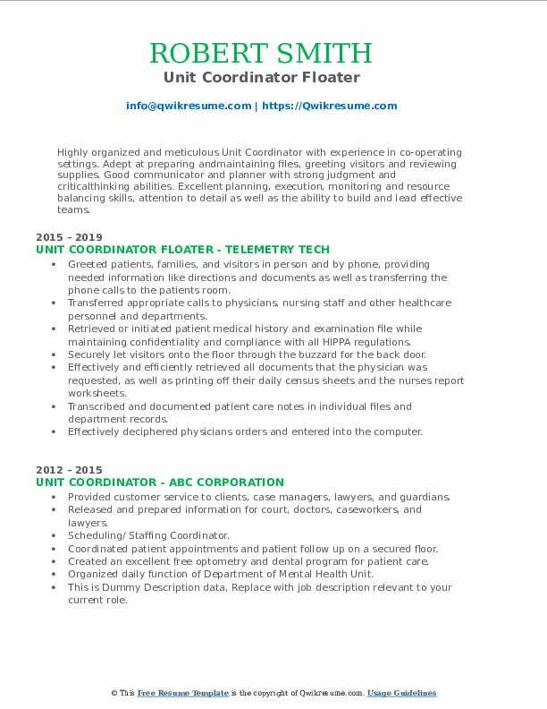 Unit Coordinator Floater Resume Format