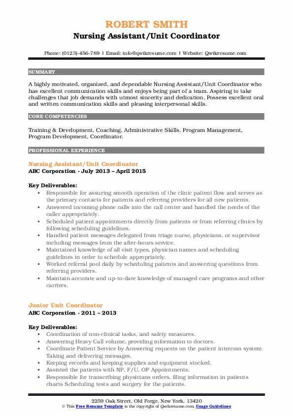 Nursing Assistant/Unit Coordinator Resume Sample