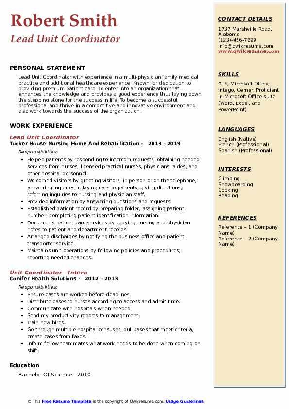 Lead Unit Coordinator Resume Model