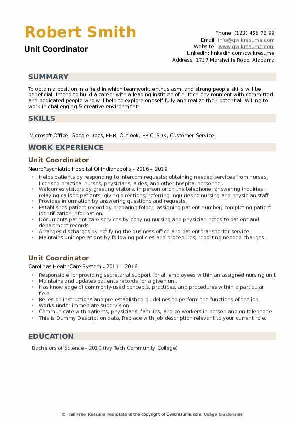 Unit Coordinator Resume Sample
