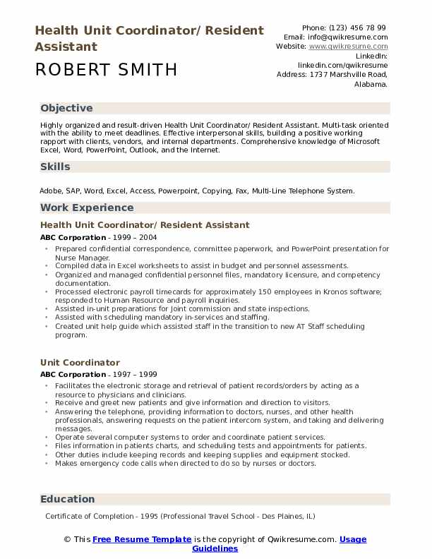 Unit Coordinator Resume example