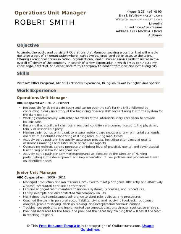 Operations Unit Manager Resume Example