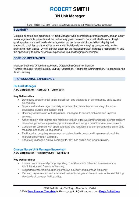RN Unit Manager Resume Template