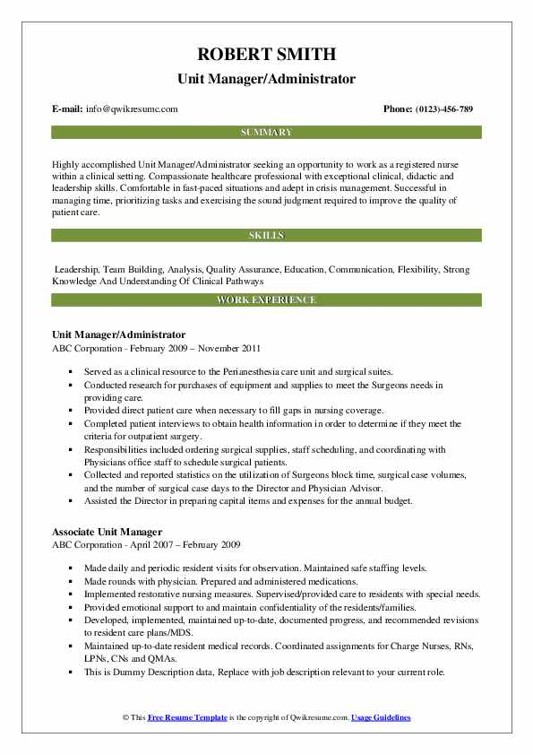 Unit Manager/Administrator Resume Example