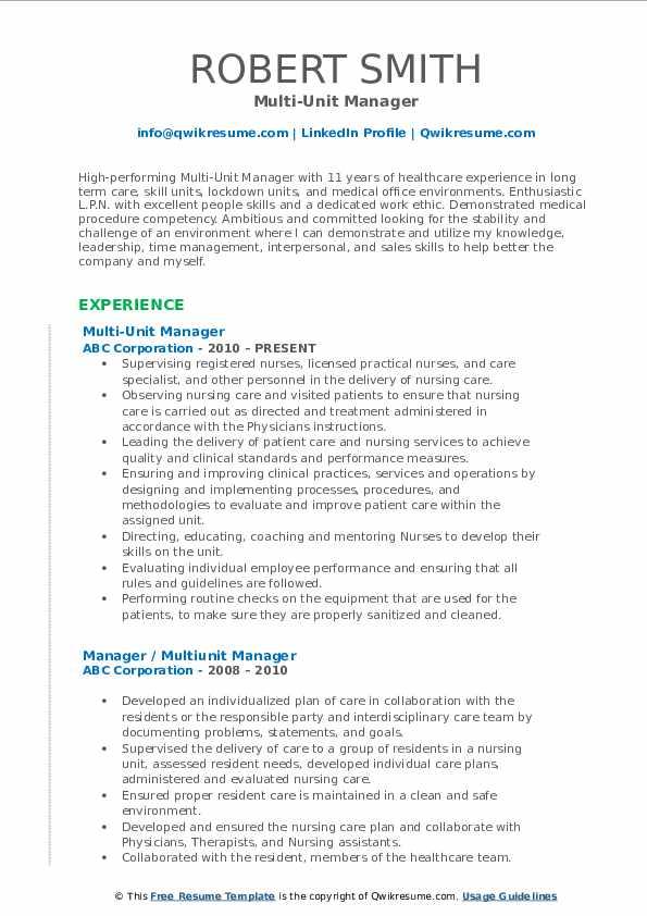 Multi-Unit Manager Resume Format