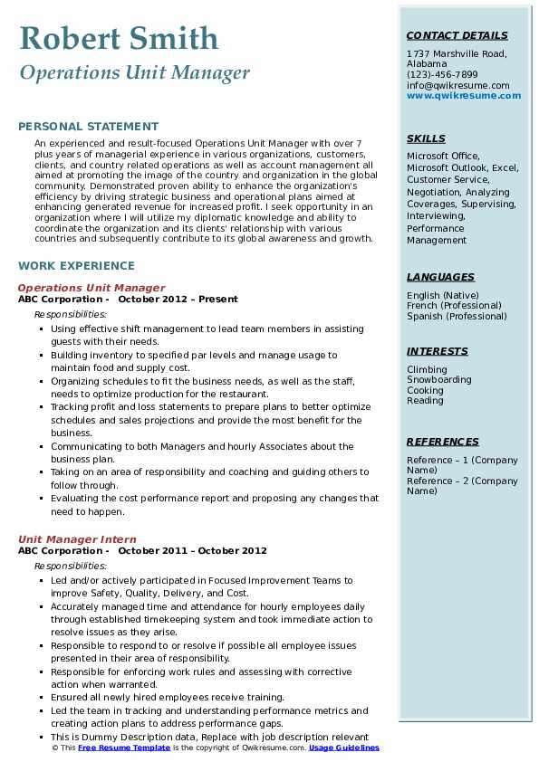 Operations Unit Manager Resume Sample