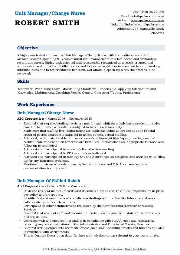 Unit Manager/Charge Nurse Resume Sample