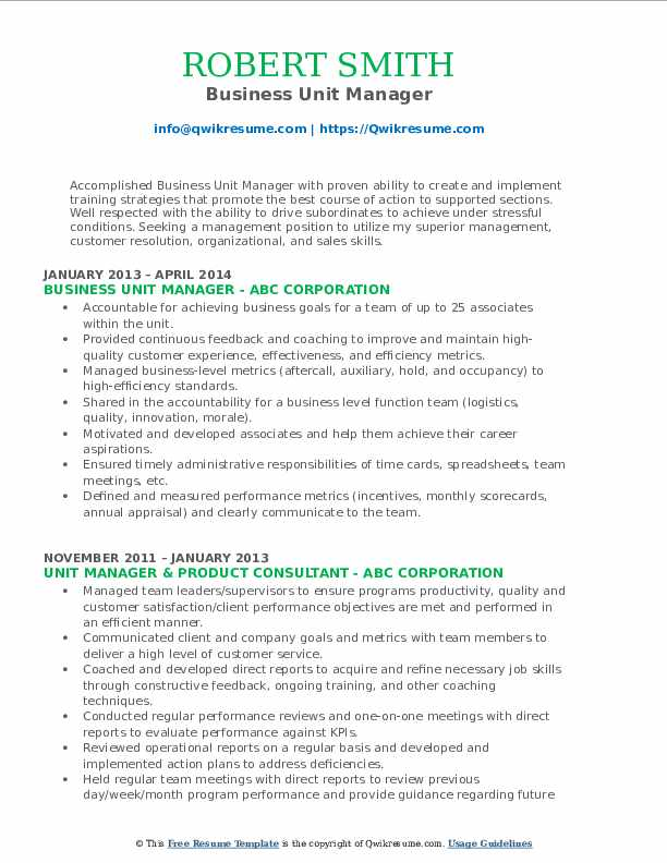 Business Unit Manager Resume Template