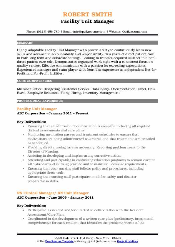 Facility Unit Manager Resume Format