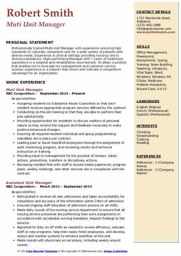 Muti Unit Manager Resume Format