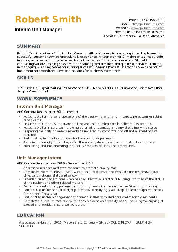 Unit Manager Resume example