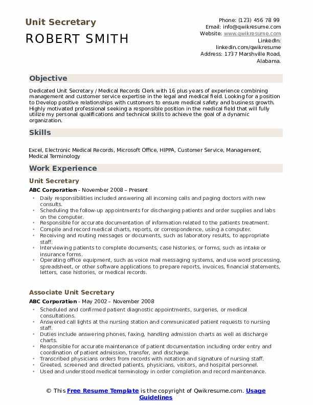 Unit Secretary Resume Samples Qwikresume