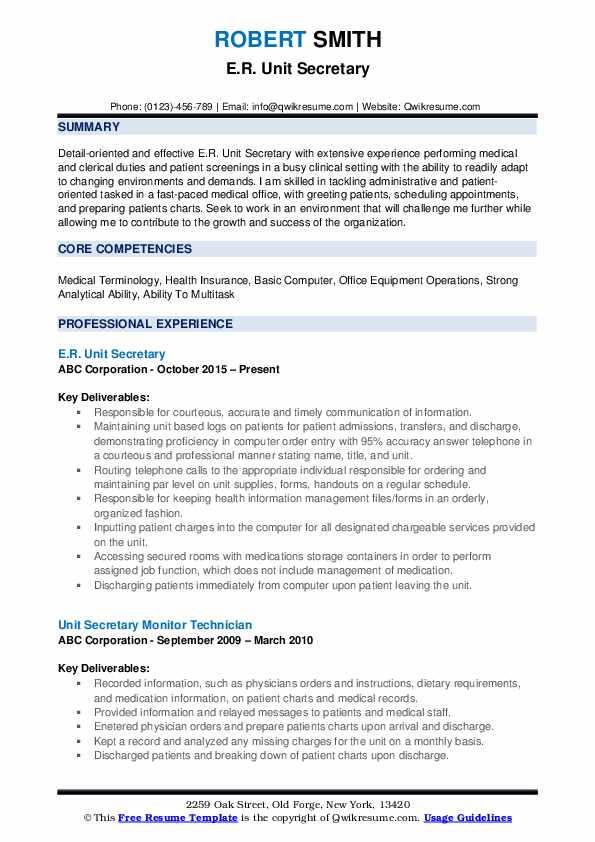 E.R. Unit Secretary Resume Model