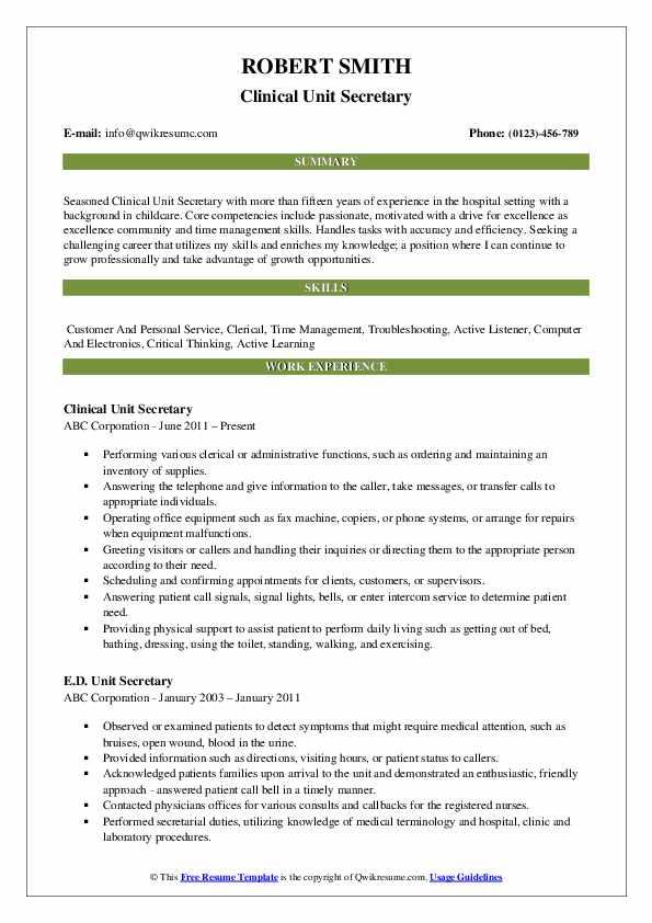 Clinical Unit Secretary Resume Example