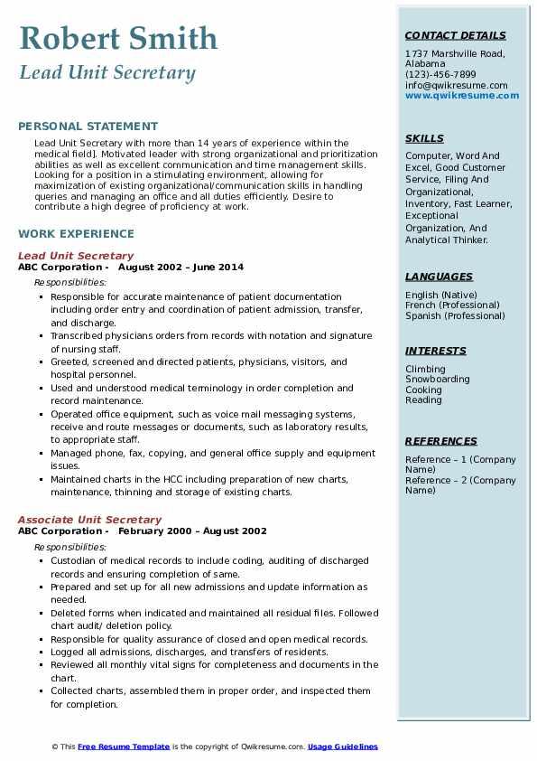 Lead Unit Secretary Resume Template