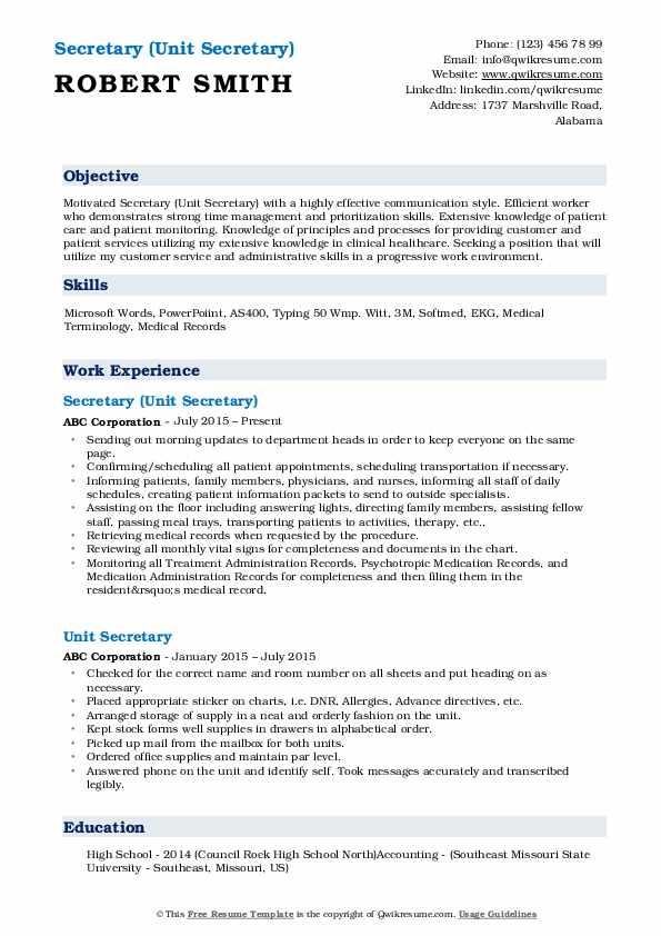 Secretary (Unit Secretary) Resume Example