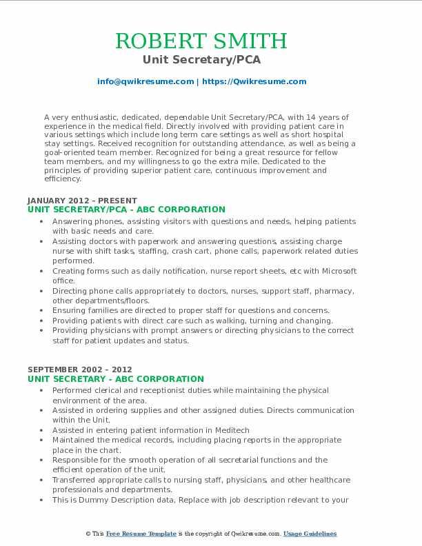 Unit Secretary/PCA Resume Example