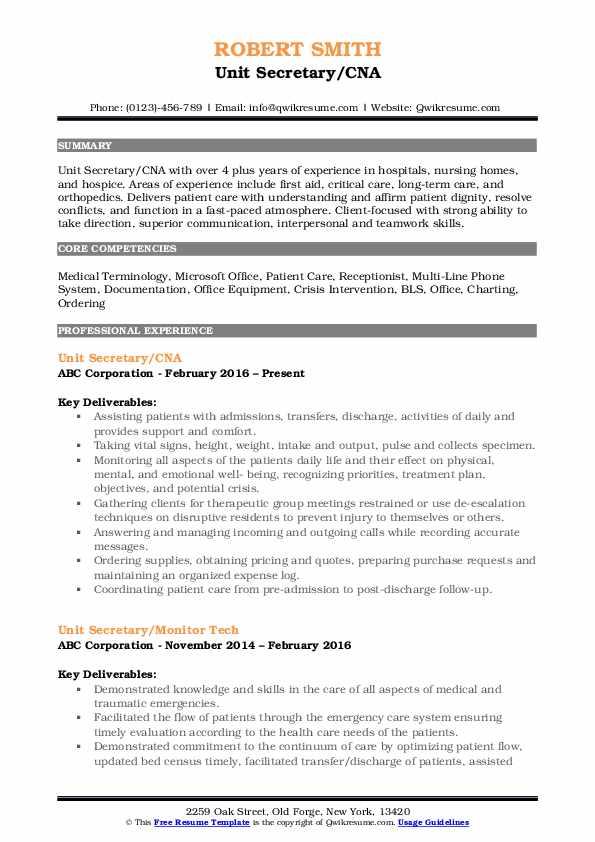 Unit Secretary/CNA Resume Template