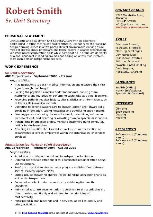 Sr. Unit Secretary Resume Sample