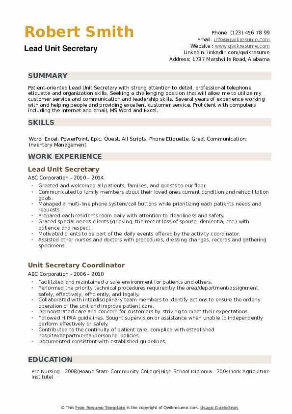 Unit Secretary Resume Samples | QwikResume