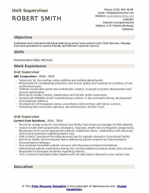 Unit Supervisor Resume example